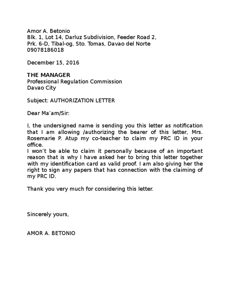 Prc Authorization Letter