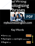 Email Writing-Apologising Phrases Slides