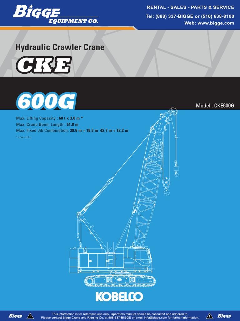 Kobelco CKE600 Operator Manual   Crane (Machine)   Machines