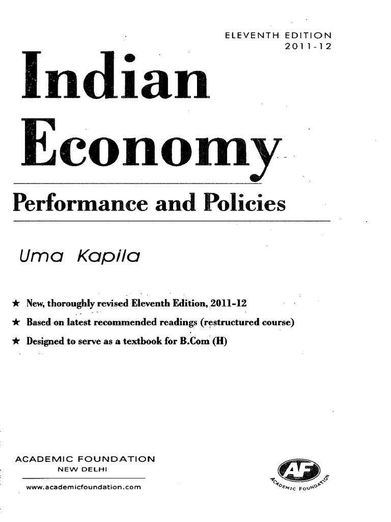 Indian Economy Performance And Policies By Uma Kapila Pdf