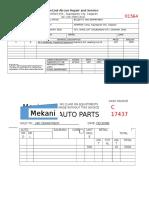 Airconditioner & Spare Parts Receipt