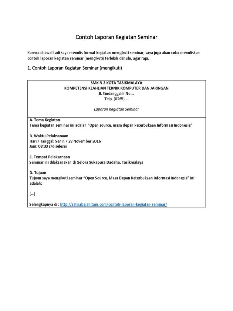 Terbaru Contoh Laporan Kegiatan Seminar Hasil Seminar Mengadakan Seminar
