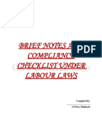 Brief Notes Compliance Checklist Under Labour Laws