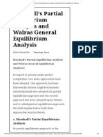 Marshall's Partial Equilibrium Analysis and Walras General Equilibrium Analysis