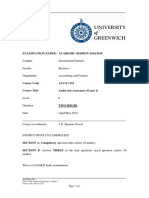ACCO 1152 Audit and Assurance Exam 1 - Exam Paper May 2015