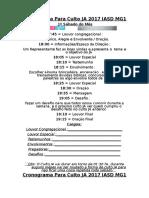 Cronograma Para Culto JA IASD 2017