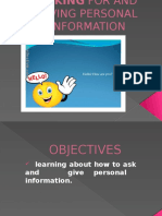 Asking and Giving Personal Information Ppt