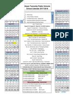 Wayne Public School District's 2017-18 Calendar