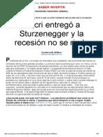 Macri Entregó a Sturzenegger y La Recesión No Se Rinde