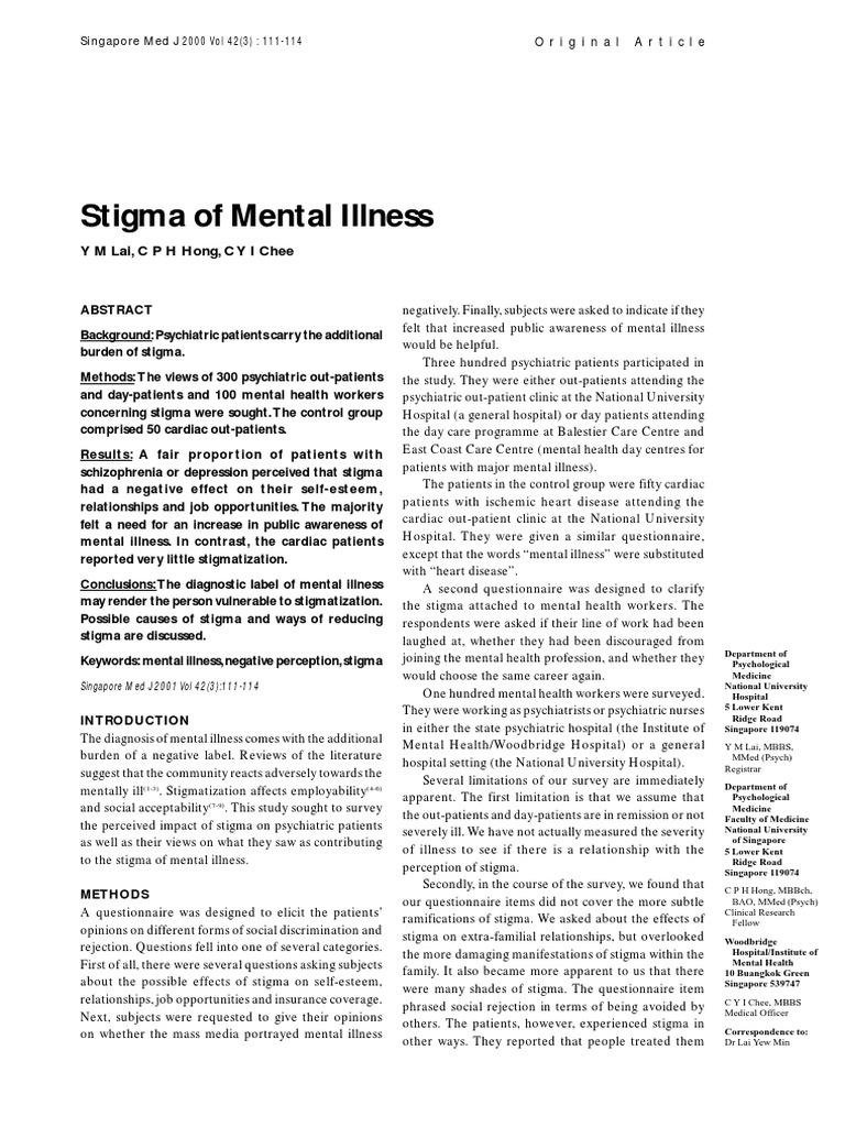 Stigma Of Mental Illness Social Stigma Mental Disorder