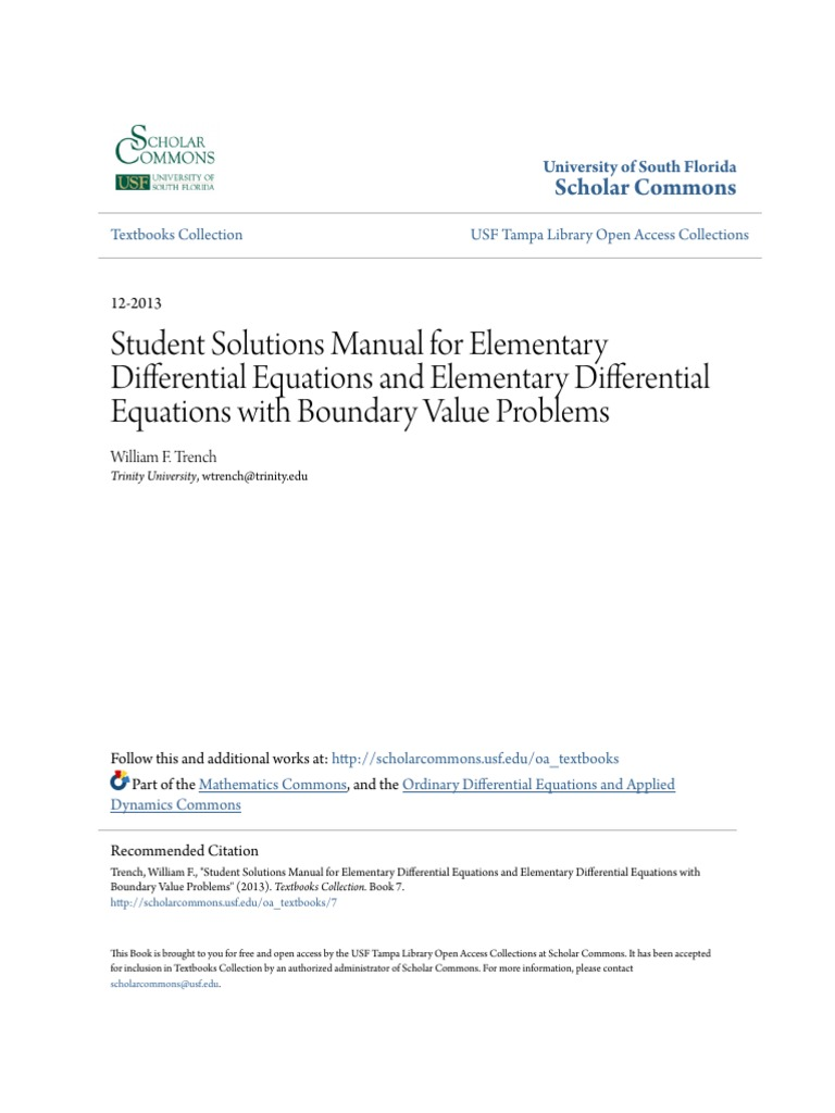 Student Solutions Manual for Elementary Differential Equations | Ordinary  Differential Equation | Differential Equations.