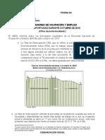 INDICADORES DE OCUPACIÓN Y EMPLEO, DURANTE OCTUBRE DE 2016