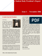 Student Body President Newsletter Issue 1