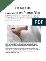 Baja en La Tasa de Natalidad en Puerto Rico