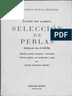 Seleccion de Perlas Texto Impreso Mibhar Ha Peninim Maximas Morales Sentencias e Historietas Por Selomo Ibn Gabirol Version Con Introdu