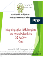 Integrating Afghan SMEs Into Global and Regional Value Chains