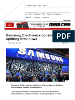 Samsung Electronics Considers Splitting Firm in Two - BBC News