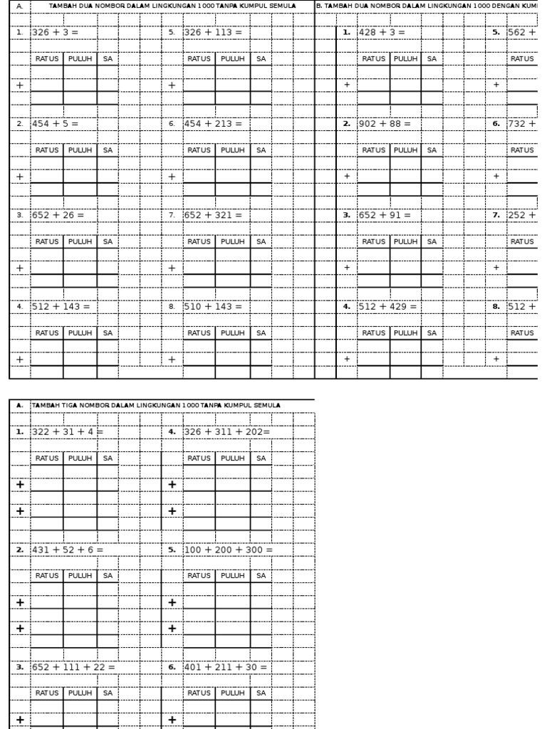 Latihan Matematik Tahun 2 Operasi Tambah