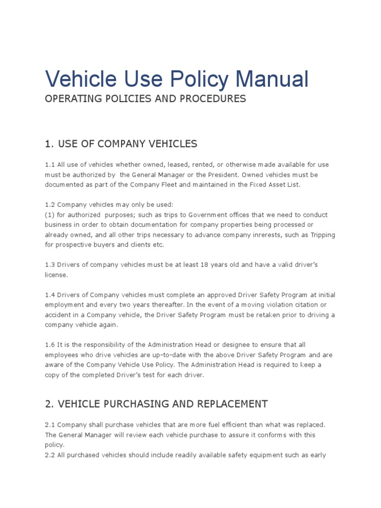 vehicle use policy manual vehicles driving
