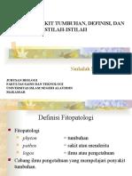 Bahan Ajar Fitopatologi;Konsep Penyakit Tumbuhan, Definisi, Dan Istilah-Istilah (I)