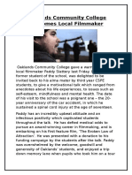 oaklands community college welcomes local filmmaker