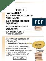 Chapter 2 Algebra Part 1