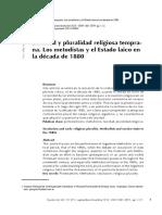 Laicidad y Pluralidad Religiosa Temprana - Los Metodistas y El Estado Laico en La Década de 1880