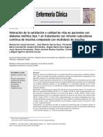 Valoraci n de La Satisfaci n y Calidad de Vida en Pacientes Con Diabetes Mellitus Tipo 1 en Tratamiento Con Infusi n Subcut Nea Continua de Insulina c