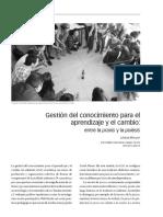 Gestion Del Conocimiento Para El Aprendizaje y El Cambio Entre La Praxis y La Poiesis