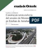 28.11.2016 La Jornada de Oriente - Construyen sexta ciclovía del sexenio de Moreno Valle en Esteban de Antuñano