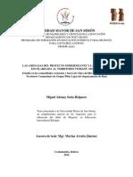 2016 Tesis Miguel Soria - Las Amenazas Del Proyecto Modernizante y La Educación Escolarizada Al Territorio Tsimane'-Mosetén