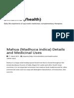 Mahua Madhuca Indica Details and Medicinal Uses