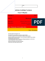 Edexcel GCSE Physics P2 Topic 6 Test 16_17 With Mark Scheme