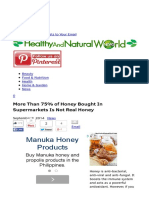 More Than 75% of Honey Bought in Supermarkets is Not Real Honey