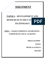 EDU 103 DEVELOPMENT AND RESOURCES IN EDUCATIONAL TECHNOLOGY