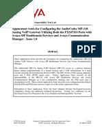 Avaya CM SES - MP118 FXO Configuration Guide[1]