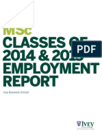 Ivey Msc Classes of 2014 2015 Employment Report