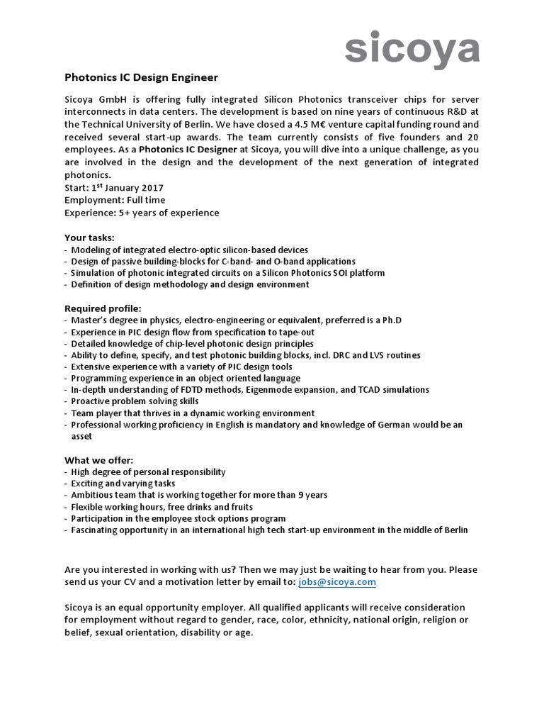 Job Description Photonic-Designer