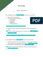 SPO Checklist