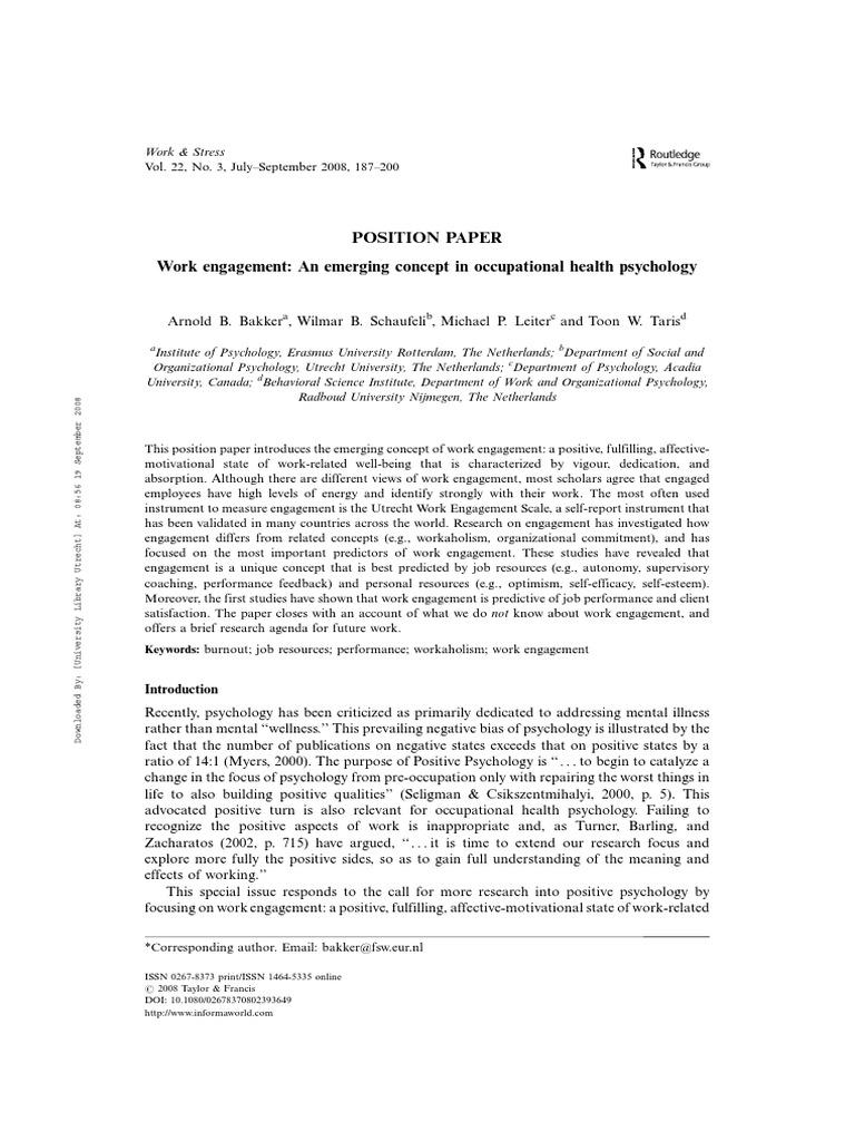 Bakker et al. - 2008 - Work engagement An emerging concept ...