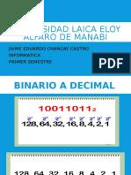 Conversion Binario a Decimal