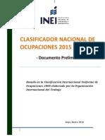 Clasificador Nacional de Ocupaciones 9 de Febrero