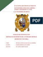 Disposicion de Residuos de Actividades Mineras, Desmonte y Escoria