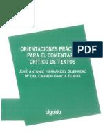 Orientaciones Practicas Para El Comentario Critico de Textos