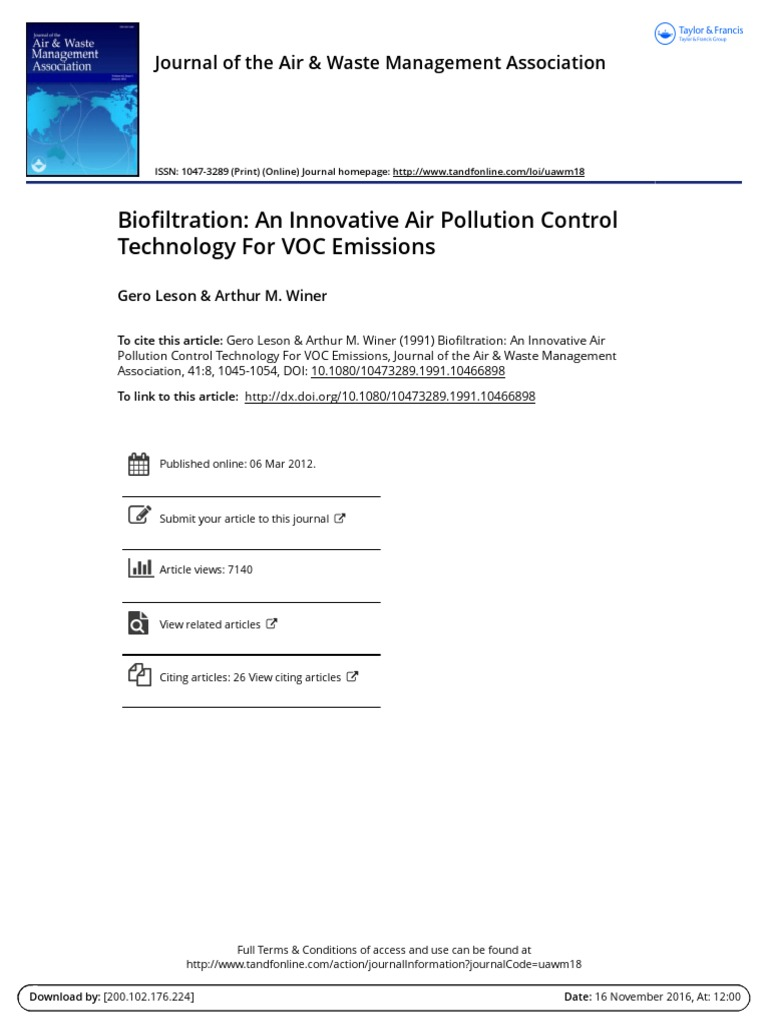 Biofiltration an Innovative Air Pollution Control Technology for VOC