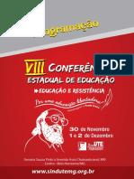 Programação Da VIII Conferência Estadual