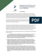 Declaración Del II Foro de Participación Ciudadana de La UNASUR