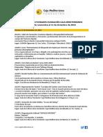 Agenda de Actividades Destacadas. Del 25/11 al 11/12/2016. Fundación Caja Mediterráneo