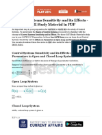 Control Systems Sensitivity and Its Effects - GATE Study Material in PDF