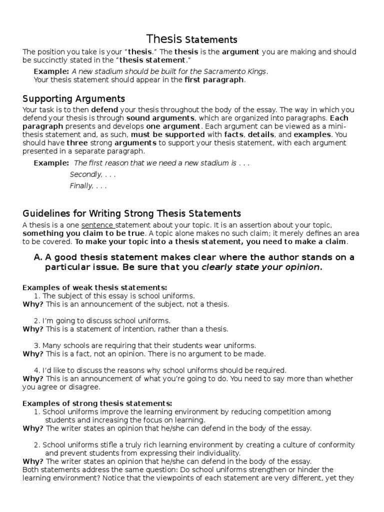 Argumentative Essay Thesis Practice | Argument | Essays
